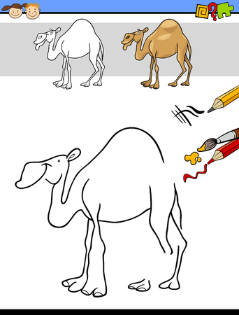 dromedary: Cartoon Illustration of Finishing Drawing and Coloring Educational Task for Preschool Children with Camel Animal Character Illustration