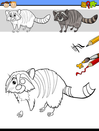 preschool children: Cartoon Illustration of Finishing Drawing and Coloring Educational Task for Preschool Children with Raccoon Animal Character