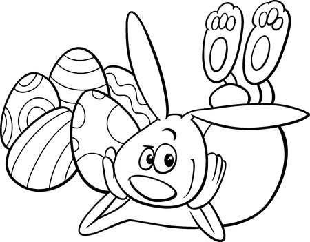 colored egg: Black and White Cartoon Illustration of Easter Bunny Character with Paschal Egg for Coloring Book Illustration
