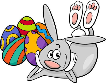 paschal: Cartoon Illustration of Easter Bunny Character with Paschal Egg