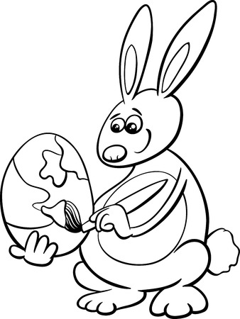 Black And White Cartoon Illustration Of Easter Bunny Painting Paschal Egg For Coloring Book