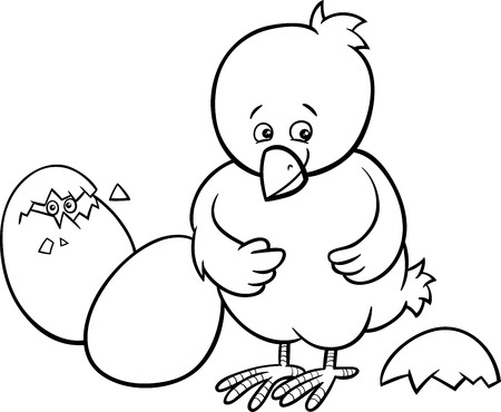 Black and White Cartoon Illustration of Little Chicken or Chick which was Hatched from an Easter Egg for Coloring Book