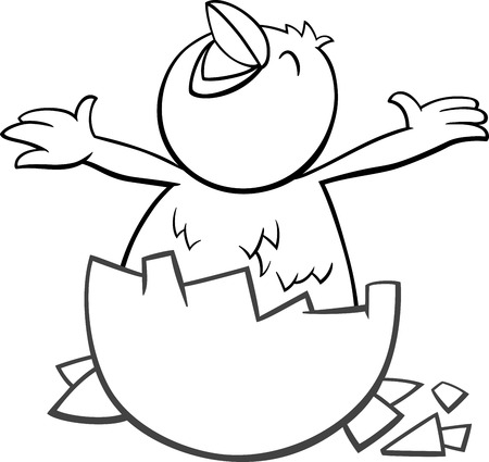 Black and White Cartoon Illustration of Little Chick which was Hatched from an Egg for Coloring Book