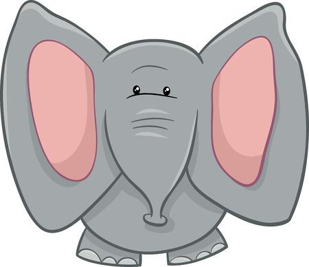 Cartoon Illustration of Little African Elephant Animal Character