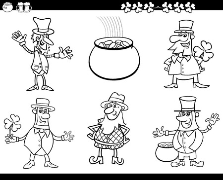pot of gold: Black and White Cartoon Illustration of Leprechaun Characters and Saint Patrick Day Themes Set Coloring Book