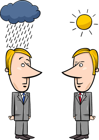 bad weather: Concept Cartoon Illustration of Two Businessmen and Good and Bad Weather