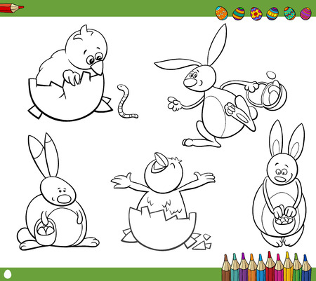 Happy Easter Themes Collection Set of Black and White Cartoon Illustrations with Bunnies and Chickens with Eggs for Coloring Book