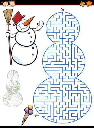 Cartoon Illustration de l'éducation labyrinte jeu enfants d'âge préscolaire avec le bonhomme Caractère