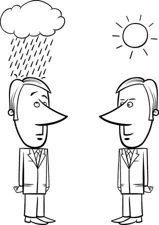 meteo: In bianco e nero concetto fumetto illustrazione di due uomini d'affari e il Bene e il maltempo