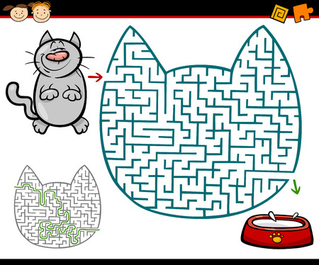 Cartoon Illustration of Education Maze or Labyrinth Game for Preschool Children with Cat and Milk Illustration