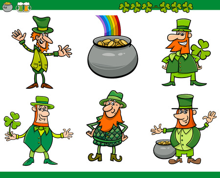 dwarf costume: Cartoon Illustration of Leprechaun Characters and Saint Patrick Day Themes Set
