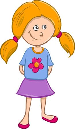 Ilustración de dibujos animados divertido del preescolar o escuela Chica Edad