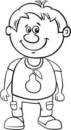 school age: Black and White Cartoon Illustration of Funny Preschool or School Age Boy Coloring Page