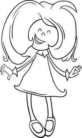 school age: Black and White Cartoon Illustration of Happy Preschool or School Age Girl for Coloring Book