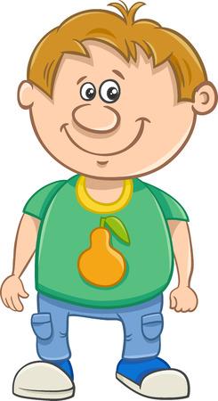 school age: Cartoon Illustration of Funny Preschool or School Age Boy
