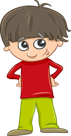 school age boy: Cartoon Illustration of Preschool or School Age Boy