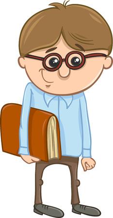 elementary age: Cartoon Illustration of Funny Elementary School Age Boy