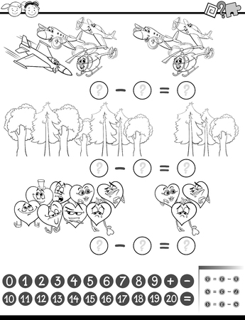 subtraction: Black and White Cartoon Illustration of Education Mathematical Subtraction Task for Children Coloring Book Illustration