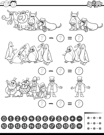 enumerate: Black and White Cartoon Illustration of Education Mathematical Subtraction Task for Preschool Kids Coloring Book