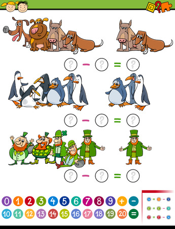 dog school: Cartoon Illustration of Education Mathematical Subtraction Task for Preschool Kids Illustration