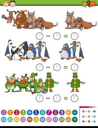 Cartoon Illustration of Education Mathematical Subtraction Task for Preschool Kids Illustration