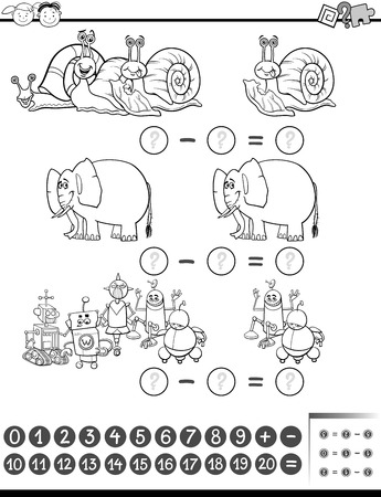 enumerate: Black and White Cartoon Illustration of Education Mathematical Subtraction Task for Preschool Children Coloring Book