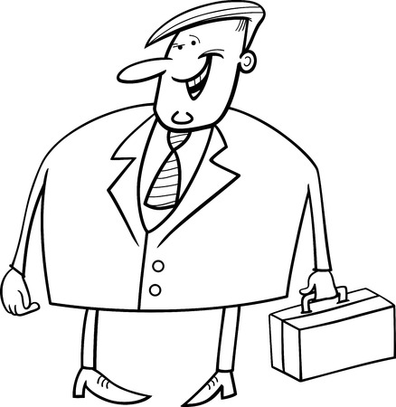 salesmen: Black and White Cartoon Illustration of Overweight Businessman with Briefcase Character for Coloring Book
