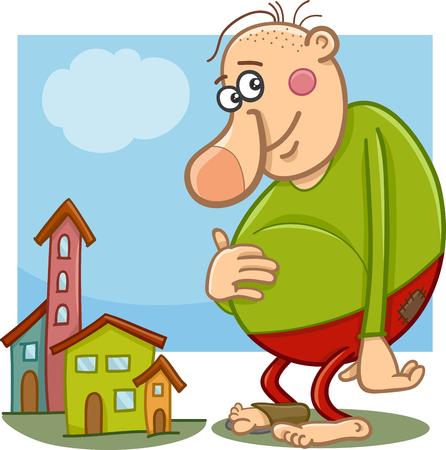 Cartoon Illustration drôle géant imaginaire ou Fairy Tale Character Vecteurs