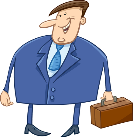 suit man: Cartoon Illustration of Overweight Businessman with Briefcase Character