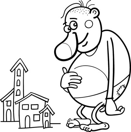 Ilustración de dibujos animados en blanco y negro de la fantasía divertido gigante o de cuento de hadas de caracteres para colorear libro