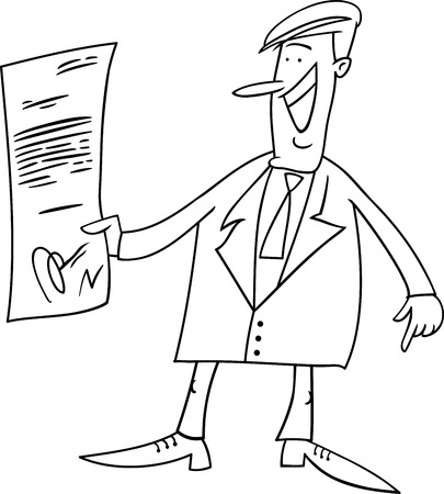 glad: Black and White Cartoon Illustration of Happy Businessman with Agreement or Contract for Coloring Book