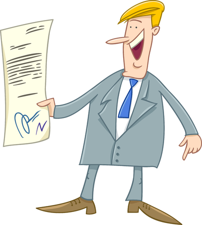 happy businessman: Cartoon Illustration of Happy Businessman with Agreement or Contract