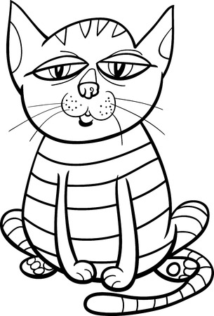 Ilustración De Dibujos Animados En Blanco Y Negro De Gato Leyendo Un ...