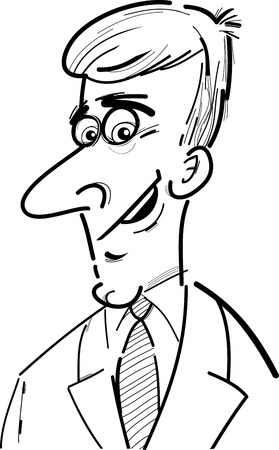 white people: Black and White Cartoon Illustration of Man or Businessman Character Caricature
