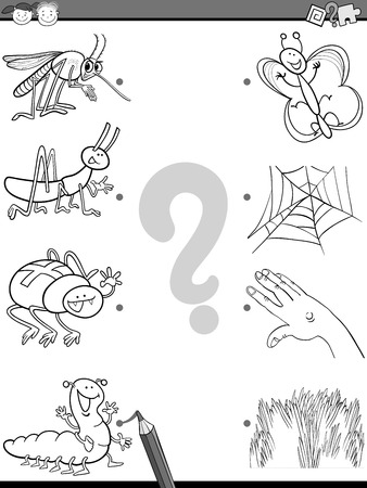correspond: Black and White Cartoon Illustration of Education Element Matching Task for Preschool Children with Insects Coloring Book