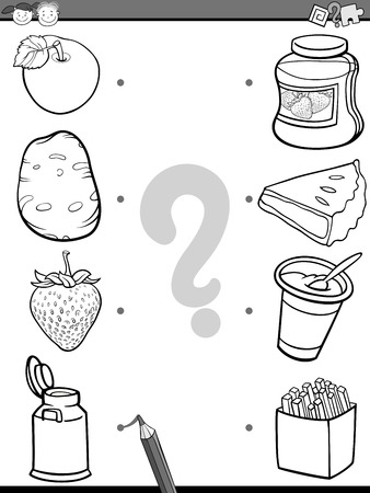 playschool: Black and White Cartoon Illustration of Education Element Matching Task for Preschool Children with Food Ingredients Coloring Book Illustration