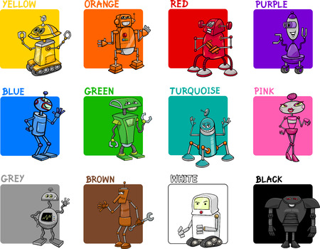 primer: Cartoon Illustration of Primary Colors with Fantasy Robots Educational Set for Preschool Children