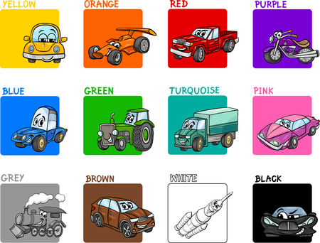 purple car: Cartoon Illustration of Primary Colors with Transportation Vehicles Educational Set for Preschool Children