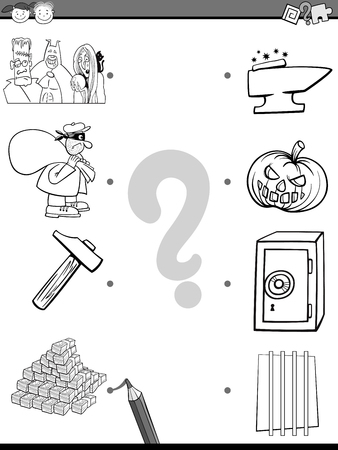 playschool: Cartoon Illustration of Educational Matching Task for Preschool Children with People and Objects Coloring Page Illustration