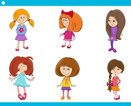 kid smile: Cartoon Illustration of School or Preschool Age Girls Children Characters Set