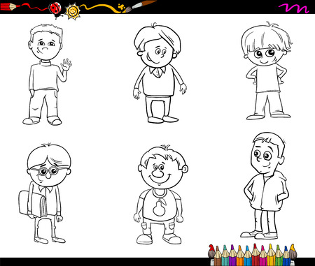 black boys: Black and White Cartoon Illustration of School or Preschool Age Boys Children Characters Set for Coloring Book Illustration
