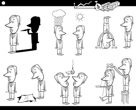 metaphors: Black and White Concept Cartoon Illustration Set of Business Metaphors with Businessman Characters