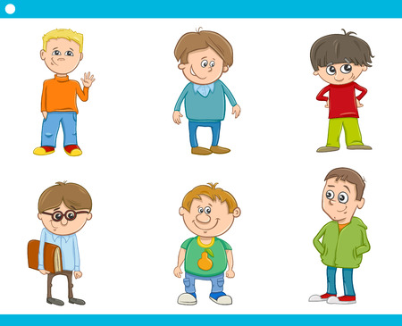 school boys: Cartoon Illustration of School or Preschool Age Boys Children Characters Set Illustration