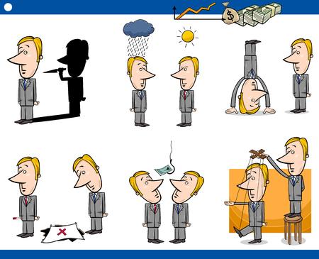 metaphors: Concept Cartoon Illustration Set of Business Metaphors with Businessman Characters Illustration