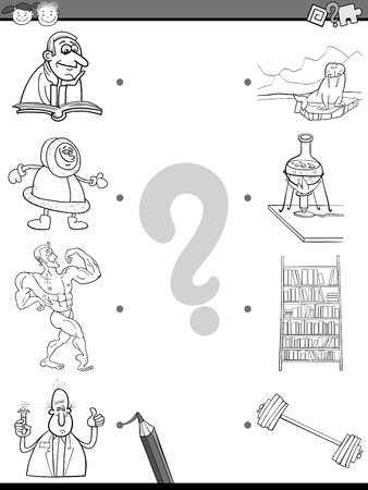 cartoon reading: Cartoon Illustration of Educational Matching Task for Preschool Children with People and Objects Coloring Book Illustration