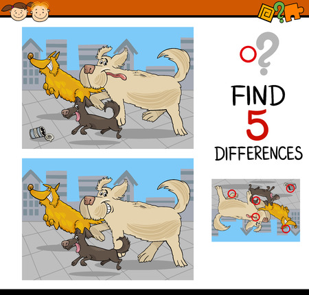 spot the difference: Cartoon Illustration of Finding Differences Educational Task for Preschool Children with Running Dogs