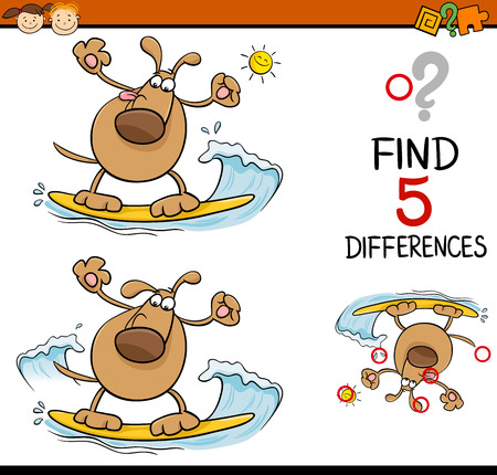 seeking solution: Cartoon Illustration of Finding Differences Educational Task for Preschool Children with Surfing Dog