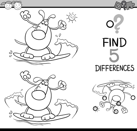spot the difference: Black and White Cartoon Illustration of Finding Differences Educational Task for Preschool Children with Surfing Dog for Coloring Book Illustration