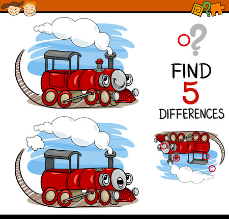 seeking solution: Cartoon Illustration of Finding Differences Educational Task for Preschool Children with Train Engine Transport Character Illustration