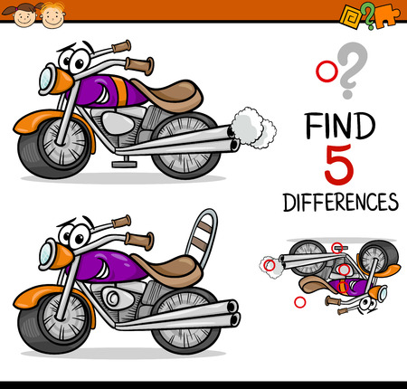 Cartoon Illustration of Finding Differences Educational Task for Preschool Children with Bike Transport Character Vettoriali